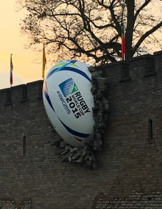 Giant rugby ball crashes through Caridiff Castle