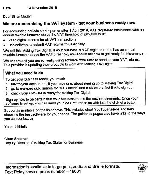 HMRC VAT Letter