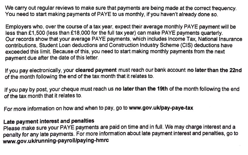 Change from quarterly to monthly PAYE payment plan