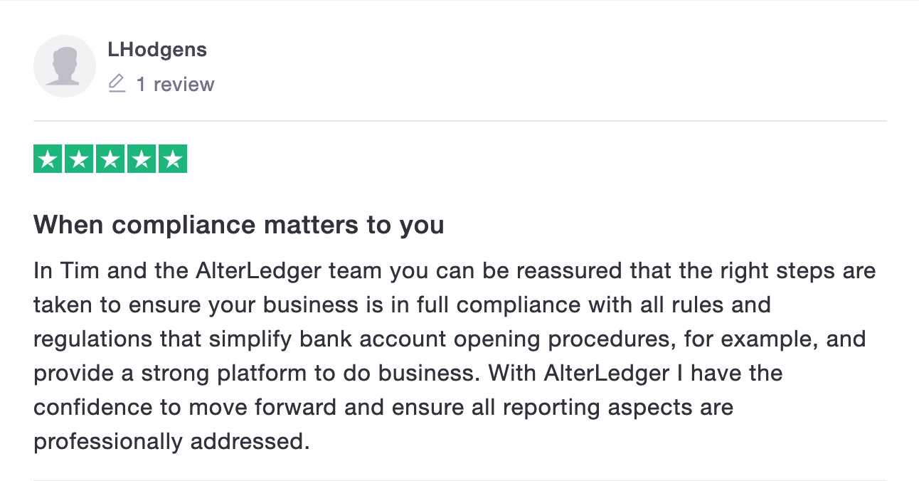 Alterledger Trustpilot Review from Professional Services company