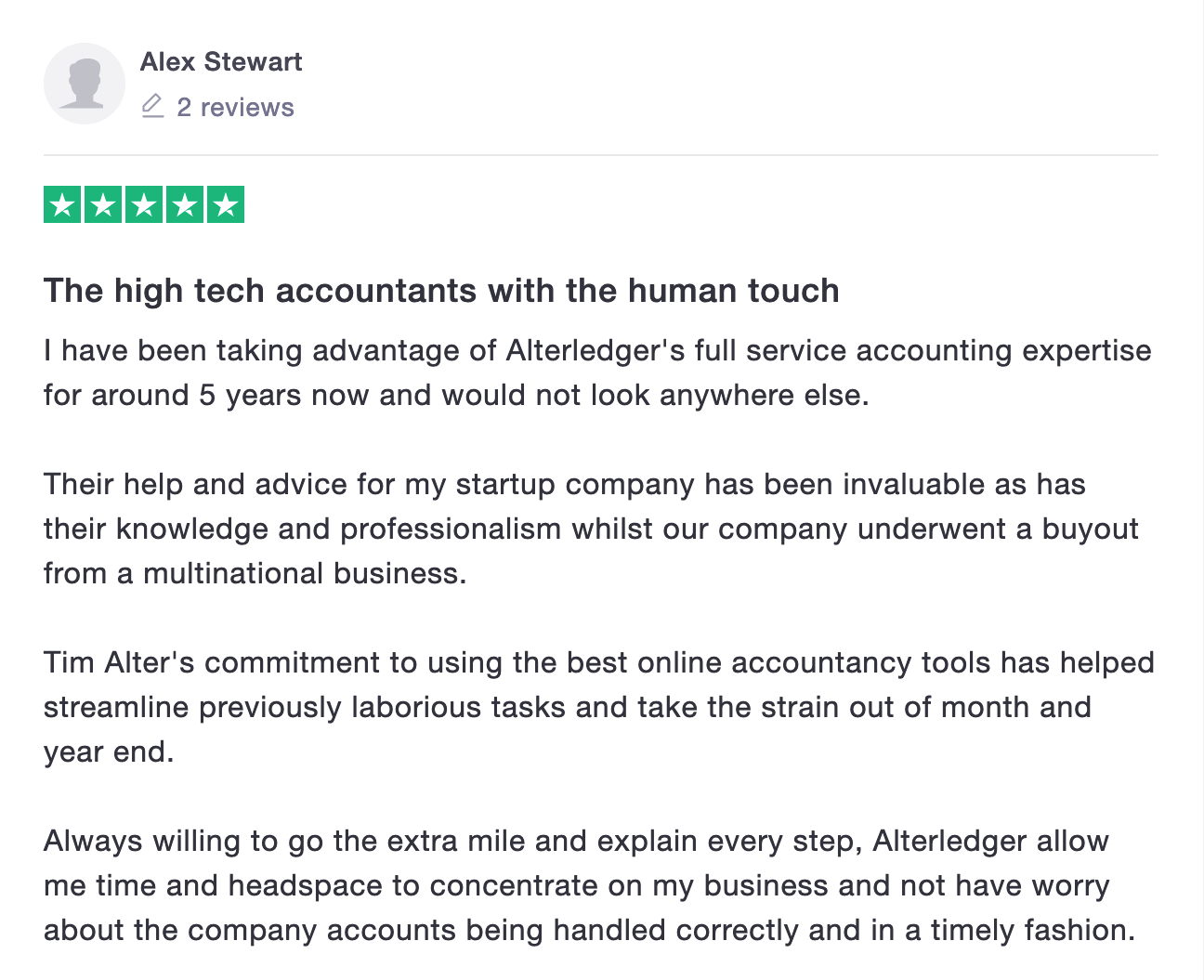 Alterledger Trustpilot Review from Tech company
