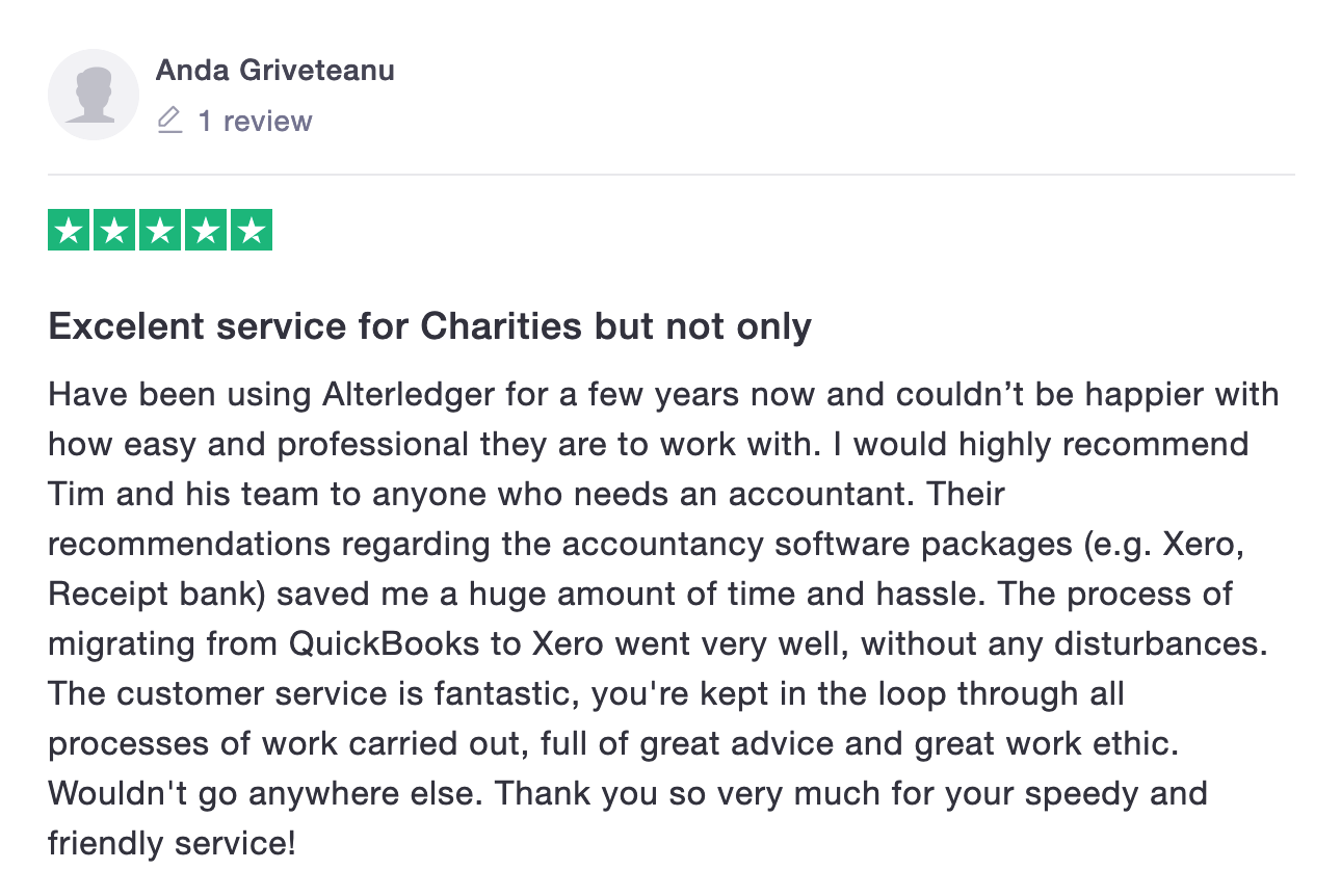 Alterledger Trustpilot Review from Charity
