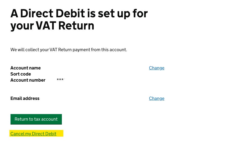 Deferred VAT Payment Cancel DDI 3