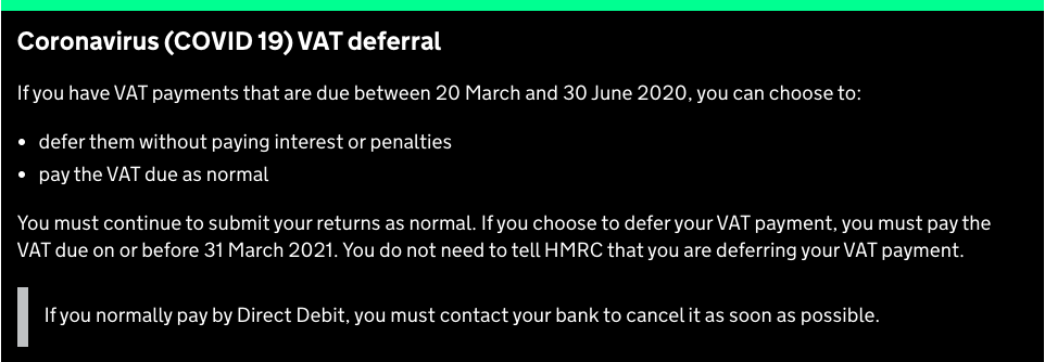 Deferred VAT Payments