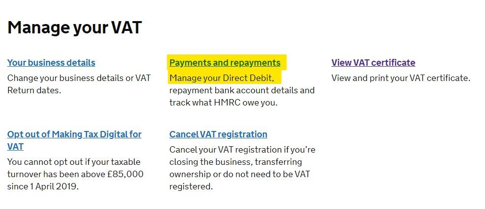 Manage VAT Payments and VAT Direct Debit
