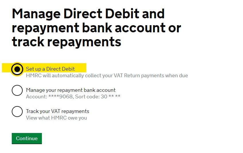 Set up VAT Direct Debit online