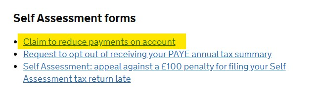 Claim to reduce payments on account link