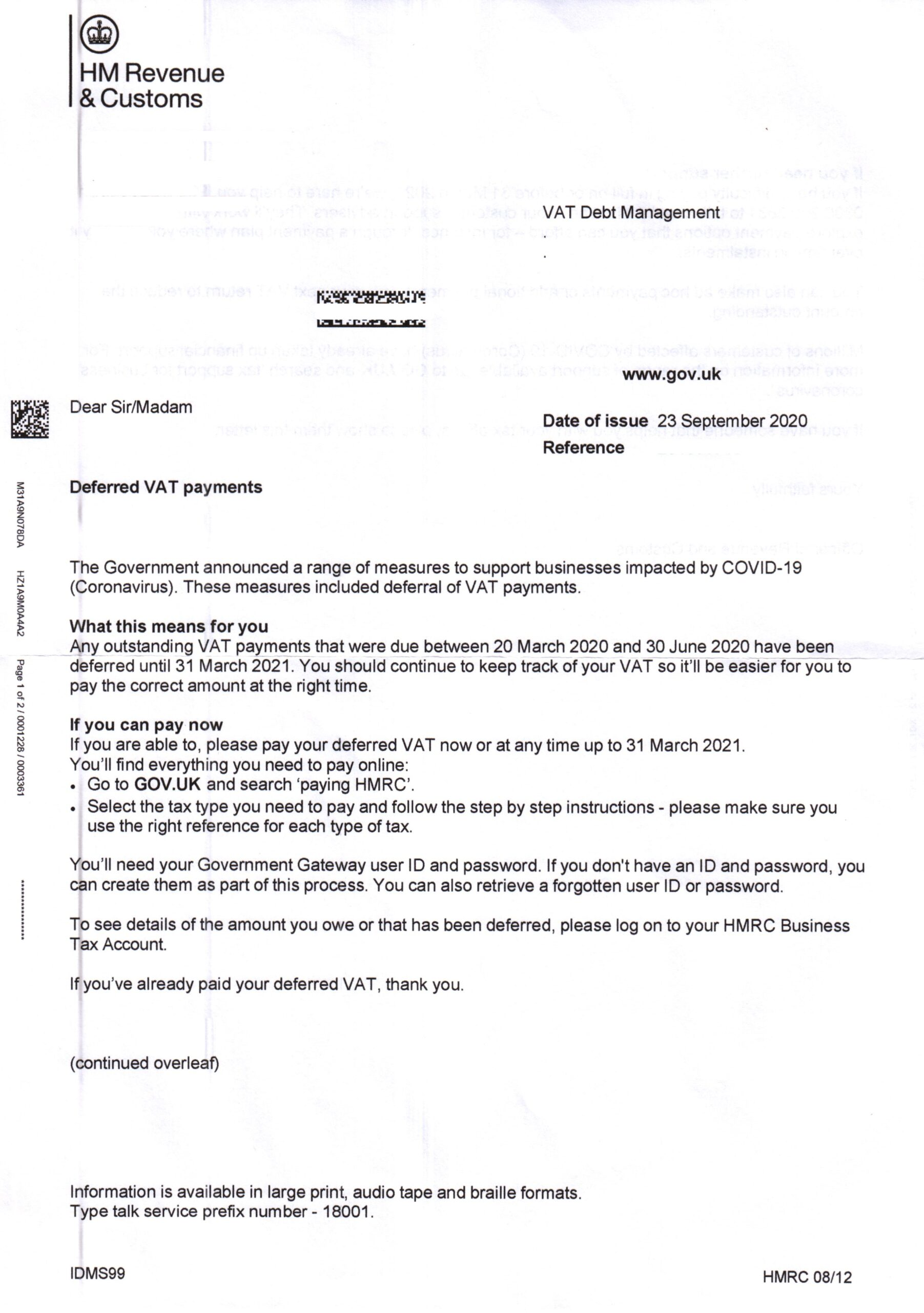Out of date letter from HMRC for Deferred VAT payments
