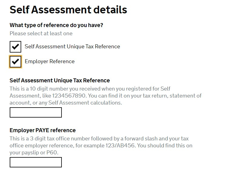 HMRC Self Assessment Details
