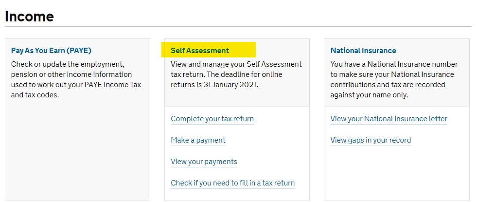 HMRC online account - Self Assessment