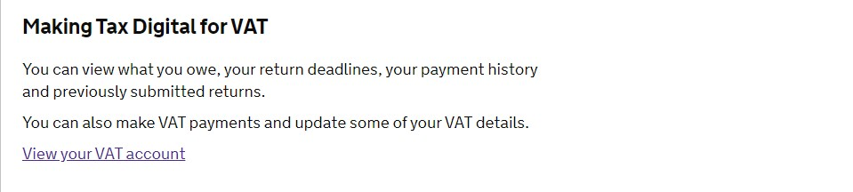 More time to pay VAT - View VAT account