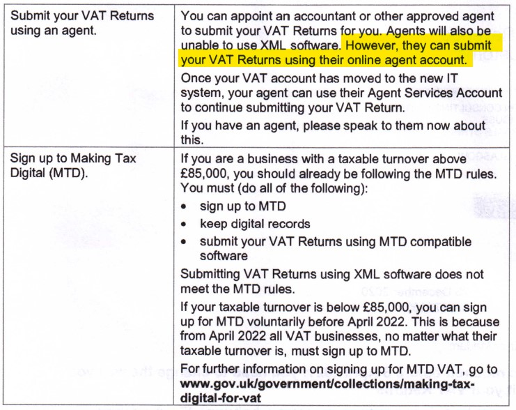 Your accountant can submit your VAT returns