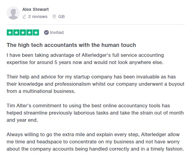Alex Stewart 5 star review
