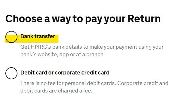 set up a manual VAT payment - bank transfer