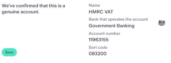 set up a manual VAT payment - Bank verification