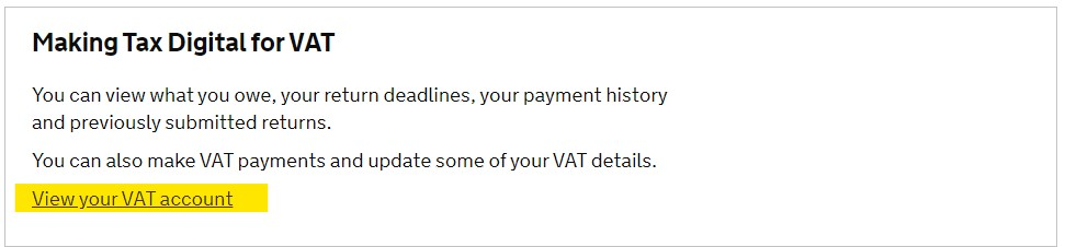 set up a manual VAT payment - View VAT account