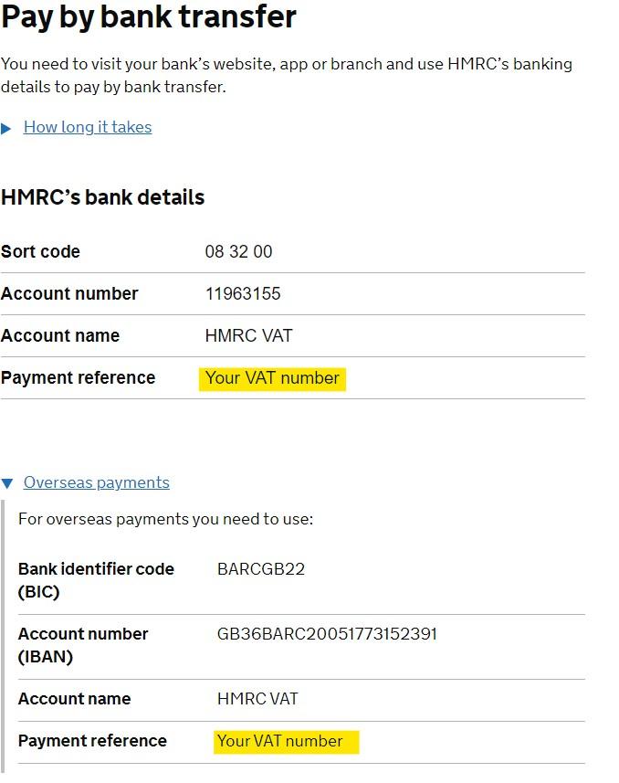 set up a manual VAT payment - HMRC bank details