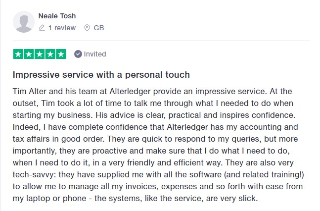 Trustpilot 5 star review Neale Tosh