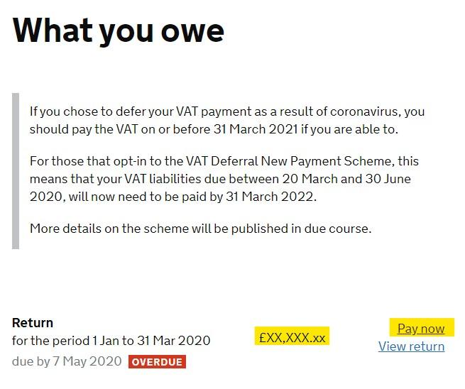 set up a manual VAT payment - What you owe XXX